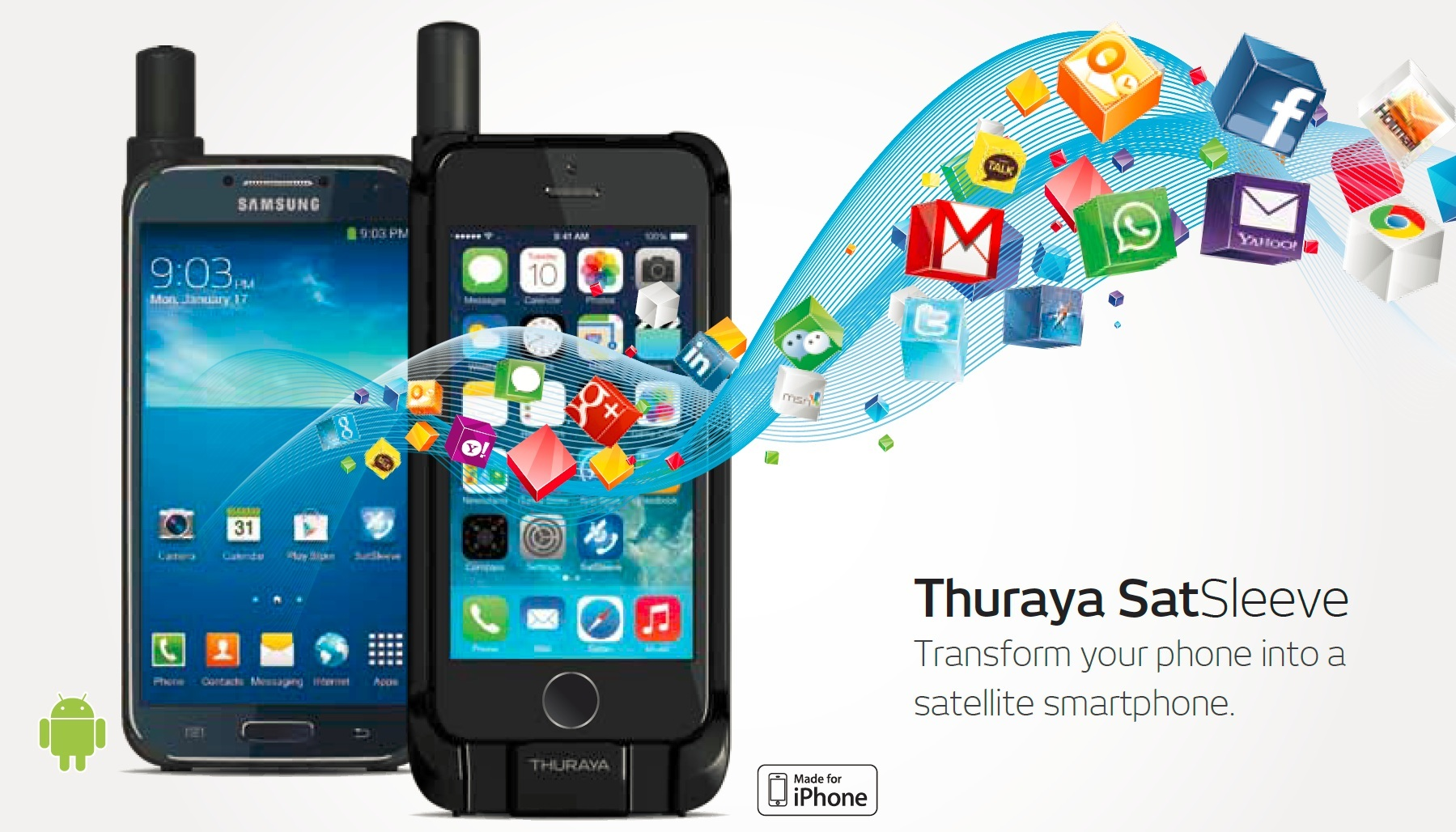 Thuraya satsleeve Samsung Iphone satelliet telefoon